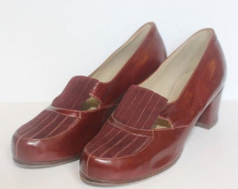 1940's Burgundy Leather Shoes - Genuine Vintage - Dark Red Shoes - Size 4