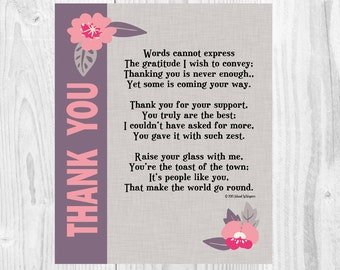 Thank you poem | Etsy