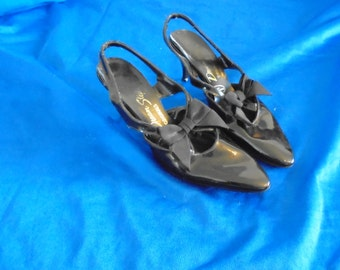Dream Steps Shoes Black Bow Patent Leather Pumps Heels Sz 6.5 Rockabilly 1950s/1960s