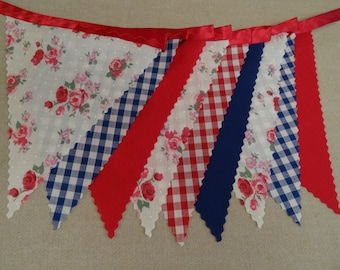 5m Length - Roses Gingham Red Blue on Red Ribbon - Birthday Party Celebration
