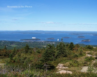 Maine coast, Acadia National Park, Bar Harbor, 8x10 landscape photo, home office wall art, fine art print, Cadillac Mountain, Frenchman Bay