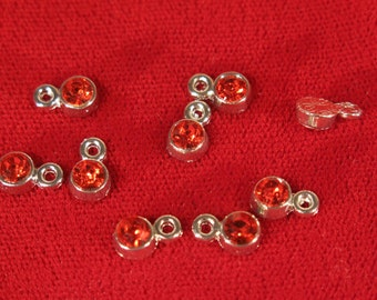 "BULK! 50pc 5mm ""ruby siam"" color charms in antique silver style (BC1115B)"