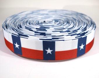 "5 yards of 1 inch ""Texas flag"" grosgrain ribbon"