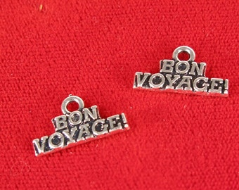 "BULK! 30pc ""Bon Voyage"" charms in antique silver style (BC1019B)"