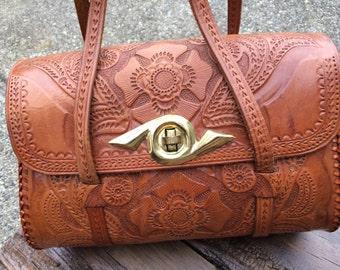 Vintage Hand-Tooled Western Style Fine Leather Handbag