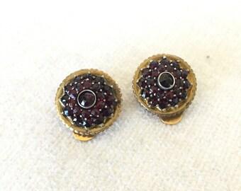 SALE Hobe Bohemian garnet clip on earrings