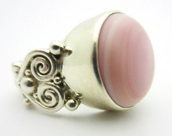Sajen Pink Shell Carved Sterling Silver Ring Sz 8.25