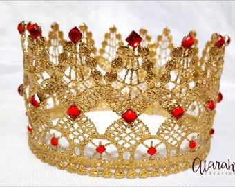 Gold Lace crown / Gold & Red Lace Crown /  Silver Lace Crown Newborn / Photo Prop / Cake topper / Photography Prop / MADE IN USA.