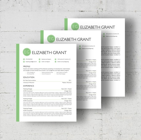Resume Template Cover Letter Template The Sara By Phdpress: Custom Colors Resume & Cover Letter Template The Elizabeth