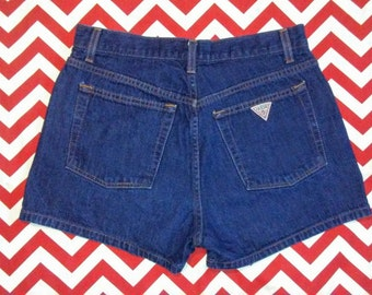 "90's Vintage GUESS High-Waisted Dark Denim, Button-Fly, Jean Shorts - Size 10 - 30"" - Waist"