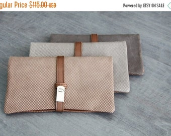 Grey  leather purse- Leather wallet -Magnet  wallet