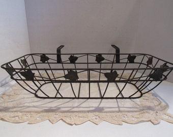 Vintage Metal Basket Porch Rail Box Shabby Chic Metal Box Planter Ivy Leaves