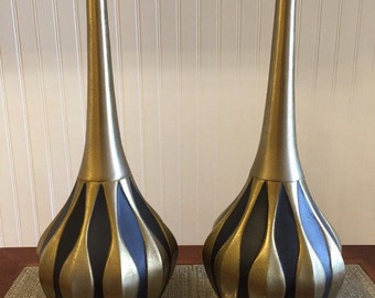 Vintage harrlequin lamps  pair  Black/Gold brass metal  Hollywood Regency