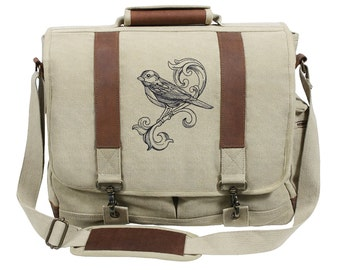 Fancy Flight Embroidered Canvas with Leather Accents Premium Laptop Bag