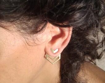 Large Earrings, Ear Jackets, Interchangeable Earrings, Geometric Earrings, Plated Gold Earrings, Unique Woman's Jewelry, Statement Earrings