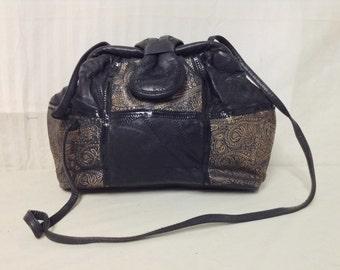 Black Leather Purse ,80s, Shoulder Bag,Gold Paisley Design,1980s,purses,bags
