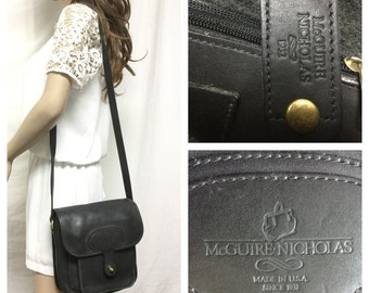 McGuire Nichols, Black Leather purse,bag, Satchel ,Shoulder Bag
