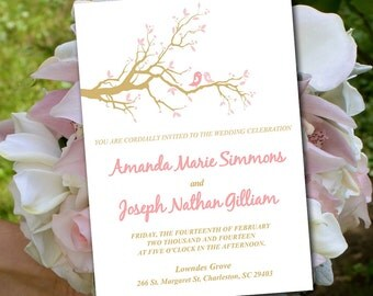 Love Bird Wedding Invitation Template - Cherry Blossom Branch Pink Gold - Rustic Wedding Invitation - Love Bird Invitation