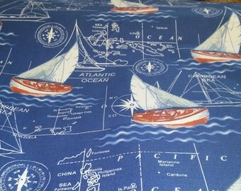 Navy Ship Map cotton fabric 1/2 yard patchwork