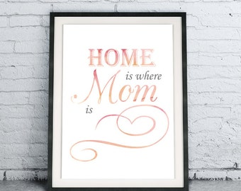 Printable Quote Art DIY Download Home Is Where Mom Is, Gift for Mother, Watercolor Modern Home Decor, Poster For Her