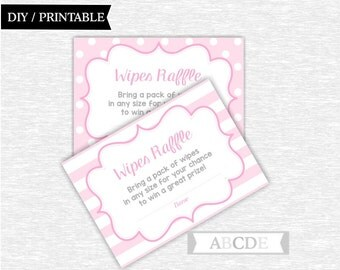 Instant Download Pink Grey Polka Dots Stripes Girl Baby Shower Party Wipes Raffle Cards Baby shower DIY Printable (PDEE001)