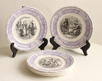 French Antique Set Of Six Lavender And Monochrome Ironstone Transfer Printed Dessert/Side Plates Depicting French Fables By Sarreguemines