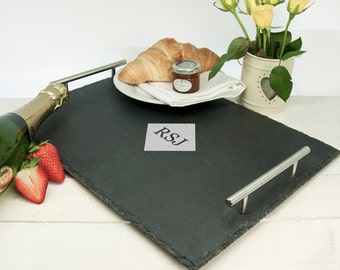 Slate Breakfast In Bed Tray - Diamond Design - Romantic Gift - Lap Tray - Serving Tray - Meal Tray - Personalised - FREE UK DELIVERY!