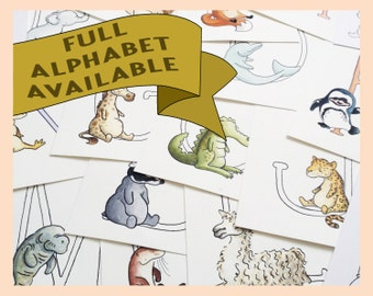 "Any Letter from my Custom Animal Alphabet illustrations. 8""x10"" mounted print. Full alphabet options"