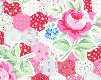 SALE  -  Lecien Flower Sugar Spring 2015, Hexie Cheater print with Roses in Pink, Gray and Red, Japanese Fabric 31128 30