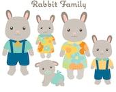 Animal Clipart - Rabbit Family Clip art - Bunny Clipart -  Animal Family Clipart - Cute Animals