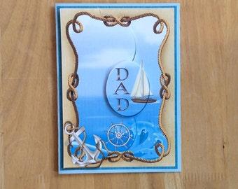 Dad Sailing Card, Sailing Fathers Day Card, Sailing Card, Boat Card, Happy Fathers Day, Happy Father's Day, Dad Card, Fathers Day Card, Dad,