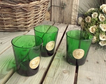 Green Water Glasses - Set of 3 - Vintage Tumblers - Byrrh Glasses - French Vintage Green Glasses - Lion Decor - Gold Medal - Made in Italy