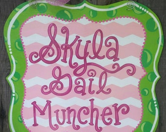 Pink and green Little girl name sign door hanger