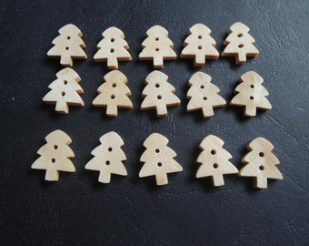 30Pcs 18x15mm Pine tree shaped wood button  (NW190)