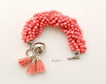 Multi strand bracelet Beaded bracelet Coral bracelet Statement bracelet Glass bead bracelet Chunky Bracelet Crochet bracelet Soft bracelet