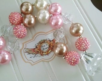 Chunky bubblegum style necklace, Gold Necklace, Pearl and pink Baby Necklace, Pink White and gold Necklace - READY TO SHIP