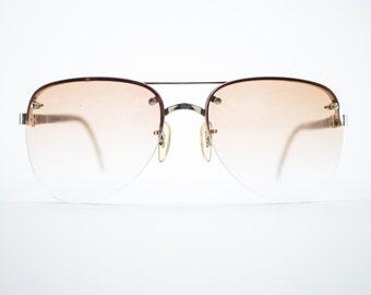 Vintage Sunglasses | Gold Aviator Sunglasses | Oversize Peach Gradient Lenses | 1970s Sunglasses | Vintage Deadstock - October I Peach