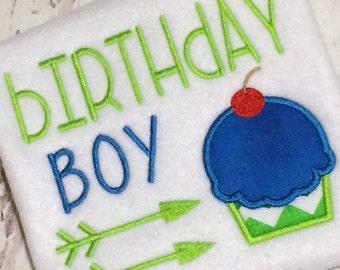Birthday Boy Applique Design - Birthday Boy Embroidery Design - Cupcake Applique - Cupcake Embroidery - Birthday Applique