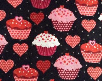 SALE - One Half Yard Fabric Material - Valentine Cupcakes