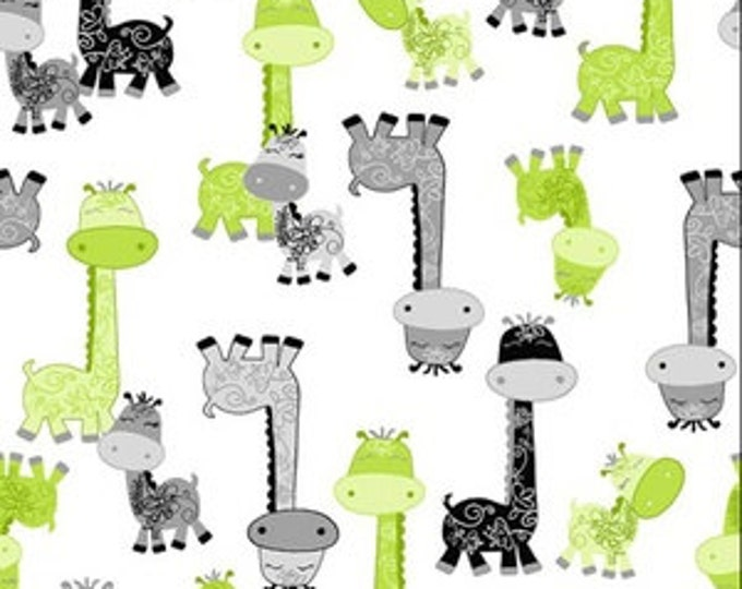 AE Nathan - Nursery Giraffes on a White background - Cotton Flannel Fabric
