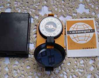 Vintage Compass Azimuth/ Soviet Collectible/ Working Compass/Travelling Navigational Tool/ Tourist Compass/1980s.