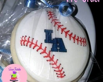 """Baseball Sugar Cookie 2""""- 12 Sugar Cookies Decorated With Marshmallow Fondant-Party Favors"""