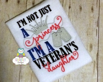 I'm not just a Princess I'm a Veterans Daughter Shirt, Patriotic or 4th of July, Memorial Day, Independence Day, Fireworks, Military Family