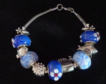 Valentines Day European Charm Bracelet, European Heart Charm Bracelet, European Blue Lampwork Bead Charm Bracelet