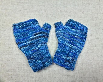 Fingerless Gloves for Babys up to 18 M. Blue, Mittens 100% Wool Merino, Arm Warmers, handknitted