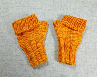 Fingerless Gloves for Babies, Mittens, Orange, up to 18 Months, Handknitted Arm Warmers