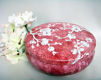 DAHER COLLECTIBLE TIN Red Cherry Blossom Round Box with Lid