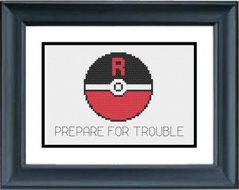 Team Rocket - Prepare For Trouble - Pokemon - Pokeballs - PDF Cross-Stitch Pattern