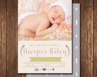 Modern baby girl birth announcement. custom photo card. introducing