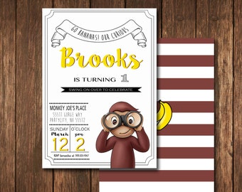 Curious George Invitation for Birthday Party - DIY Print Your Own Invite - Printable Digital File